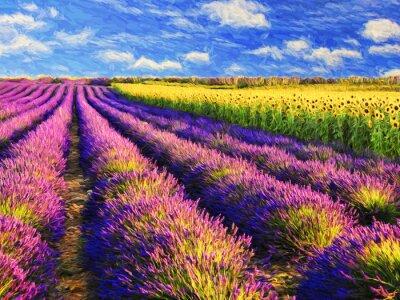 Väggdekor Lavendel och solrosor fält.