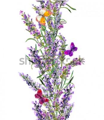 Väggdekor Lavendel sömlös ram och fjärilar. Akvarellband