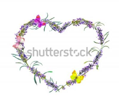 Väggdekor Lavendelblommor och fjärilar. Blommig hjärtram för akvarell för alla hjärtans dag, bröllop