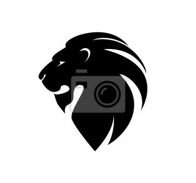 Väggdekor lejon huvud i profil. mall Logo