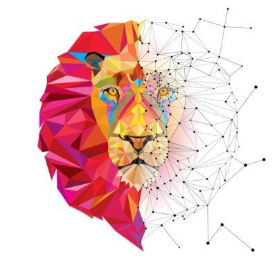 Väggdekor Lejonhuvud i geometriskt mönster med Star Line vektor