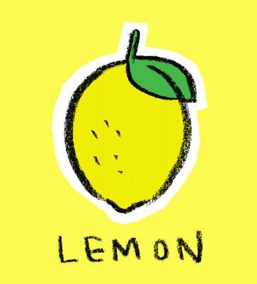 Väggdekor Lemon på gul bakgrund
