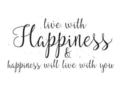 Väggdekor Lev med glädje och hapiness kommer att leva med dig inskription. Gratulationskort med kalligrafi. Räcker utdragen design. Svartvitt.