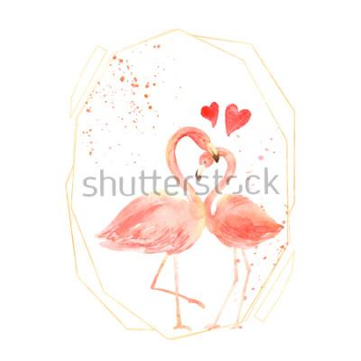 Väggdekor Levande corallflamingor i kärlek. Akvarell Glad hjärtans dag hälsningskort. Ritad för hand. rosa