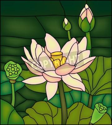 Väggdekor Lily i dammen, målat glas winow