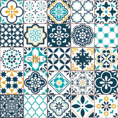 Väggdekor Lissabon geometriska Azulejo plattor vektor mönster, portugisiska eller spanska retro gamla tegel mosaik, Medelhavet sömlös turkos och gul design. Dekorativ textilbakgrund