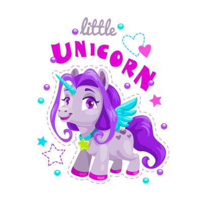 Väggdekor Liten söt tecknad unicorn etikett. Söt ponnysprinsessillustration.