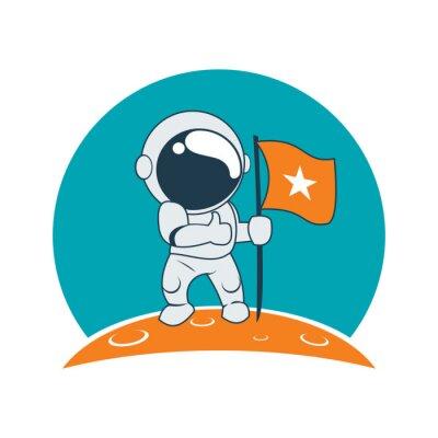 Väggdekor Little Astronaut Framgång på månen Mission tecknad
