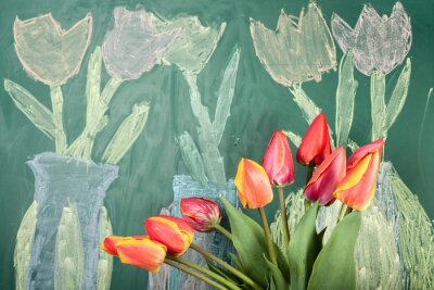 Väggdekor Live flowers and children's chalk drawing of tulips on a blackboard