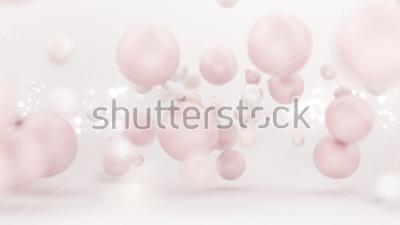 Väggdekor Ljus vit bakgrund med ballonger. 3d illustration, 3d rendering.
