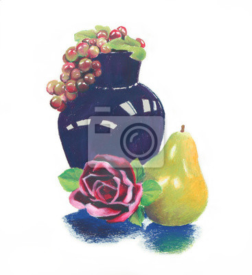 Väggdekor ljusa färgrika olje- pastell stilleben av mörkblå vas och lila druvor med rosa röd ros och grön gul päron frukt sammansättning är handritad illustration ClipArt isolerad på vit bakgrund