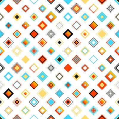 Väggdekor Ljusa färgrika Seamless geometriska mönster med rutor