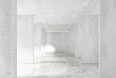 Väggdekor Loft stil tunnel med många väggar i ljus tom byggnad