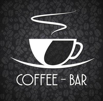 Väggdekor Logo Minimalist Coffee Bar svartvitt