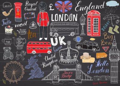 Väggdekor London City klotter element samling.