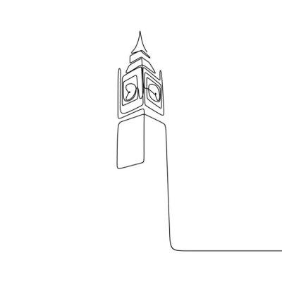 Väggdekor London City of Westminster Big Ben clock tower one line drawing minimalist design