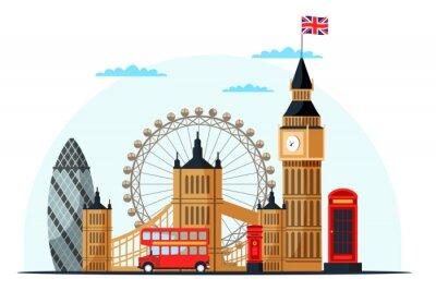 Väggdekor London cityscape flat vector color illustration