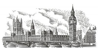 Väggdekor London Cityscape Vector Illustration, gravering stil. Westminster Palace, Westminster Bridge, Elizabeth Tower (Big Ben). Isolerat. (Sky bakgrund i separat lager).