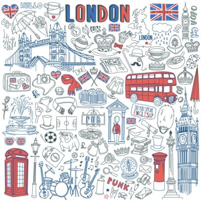Väggdekor London doodle set. Landmarks, architecture and traditional symbols of English culture - Big Ben, Tower Bridge, Royal crown, red telephone box, Union Jack. Vector illustration isolated on background