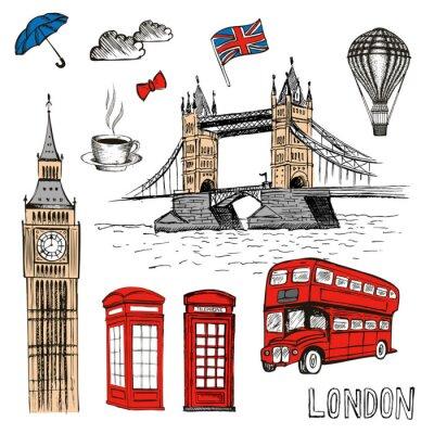 Väggdekor London Doodles. Vektor handgjord illustration med London symboler