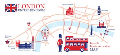 Väggdekor London, England Travel and Tourist Attraction Map