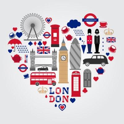 Väggdekor London Hearth Symbols Set. UK ikon samling.