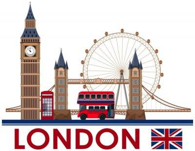 Väggdekor London landmärke på vit bakgrund
