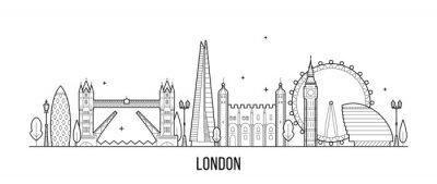 Väggdekor London skyline, England, Storbritannien stadsbyggnader vektor