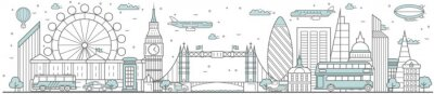 Väggdekor London skyline. Line cityscape with building landmarks horizontal panorama. London skyline with Big Ben, Tower Bridge street city sights. Capital city constructions outline, architecture concept