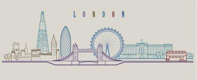 Väggdekor London skyline. Vektor bakgrund. Skiss grafisk illustration.
