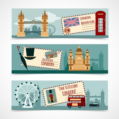 Väggdekor London Touristic Banner Set