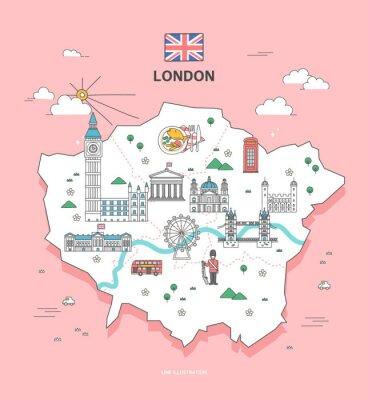 Väggdekor London Travel Landmark Collection