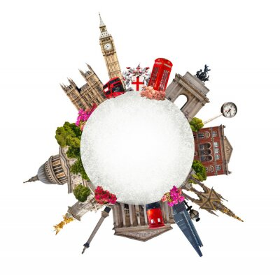 Väggdekor London. Turist- och affärs collage, Londons berömda byggnader mot vit bakgrund
