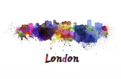 Väggdekor Londons silhuett i vattenfärg