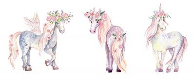 Väggdekor Magic Unicorn, Pegasus och Pony. Akvarellillustration, skönhet