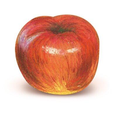 Väggdekor Målat rött äpple med klippning