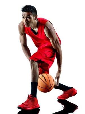 Väggdekor man basketspelare isolerade siluett