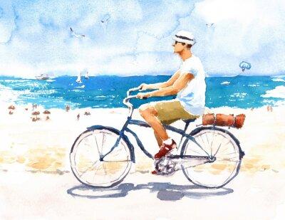 Väggdekor Man på cykel Sommarstrand Scen Akvarellillustration Handmålade