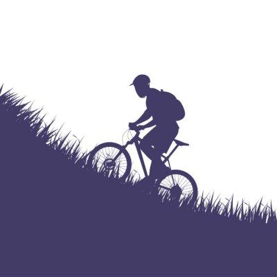 Väggdekor man på cykelsilhouette