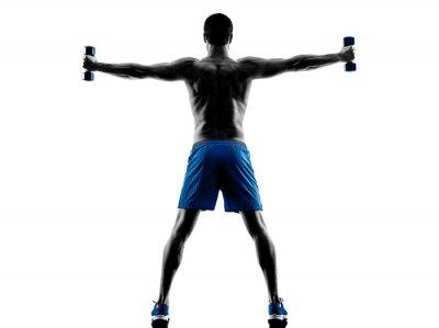 Väggdekor man utövar fitness vikter siluett