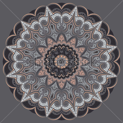 Väggdekor Mandala - in gray colors of different shades. Interior in loft style, brutal style. Geometric style, strict lines, interesting fashionable design.