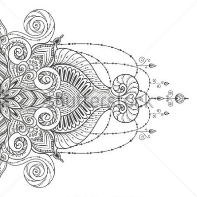 Väggdekor Mandala Vector tattoo. Perfect card for any other kind of design, birthday and other holiday, kaleidoscope, medallion, yoga, india, arabic. Islam, Arabic, Indian, asian motifs.