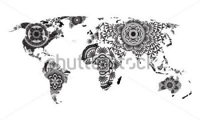 Väggdekor Mandala World Map Vector