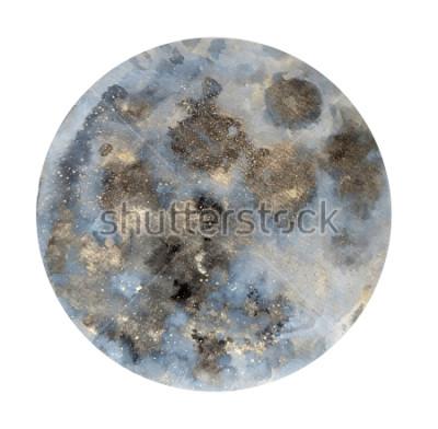 Väggdekor Måne. Akvarell illustration