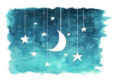 Väggdekor Månen och stjärnorna hänger från strängar målade i akvarell på vit isolerad bakgrund, nattsky bakgrund