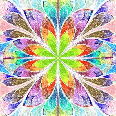 Väggdekor Mångfärgad symmetrisk fractalblomma i glasmålning