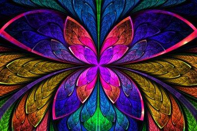 Väggdekor Mångfärgade symmetrisk fractal mönster som blommor eller fjäril