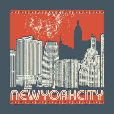Väggdekor Manhattan, New York City, silhuett illustration