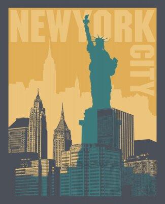Väggdekor Manhattan, New York, silhuettillustration