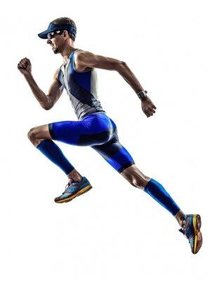 Väggdekor mannen triathlon ironman idrottsman löpare som löper